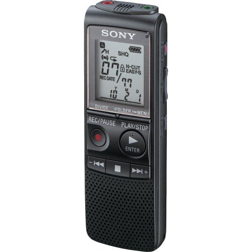 Sony ICD-PX820D Digitales Voice-Recorder mit integriertem 2 GB Flash-Speicher, inkl. Digital Voice Editor-Software, Schwarz