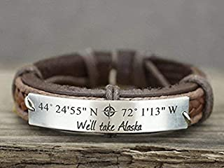 Personalized Mens Leather Bracelet, Custom GPS Coordinates, Memorial Location Quote Engraved, Stainless Steel Plate