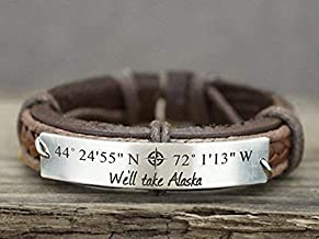 leather latitude longitude bracelet