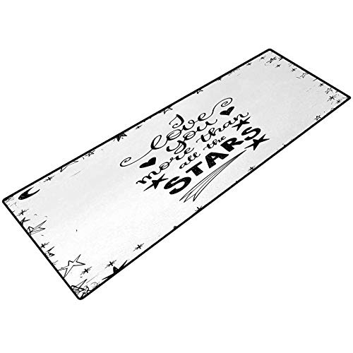 I Love You More Bathroom Rug Framework with Doodle Star Shapes Hand Lettered Phrase for The Loved One Machine Wash/Dry, for Tub, Shower, and Bath Room 18x47 Inch Black White