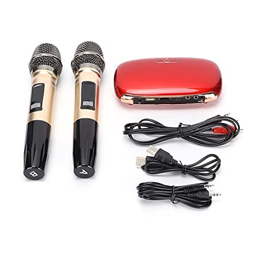 Zunate Juego de Sistema de Mezcla de Karaoke, Caja de Karaoke inalámbrica Bluetooth para el hogar, Sistema de micrófono de Karaoke portátil, Compatible con Interfaz Multimedia USB/HD/óptico(UE-Rojo)