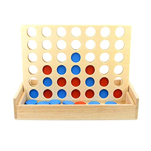 Arfun Wooden 4 in a Row Classic Family Toy, Line up 4 Game,Travel Board Games for Kids and Adults