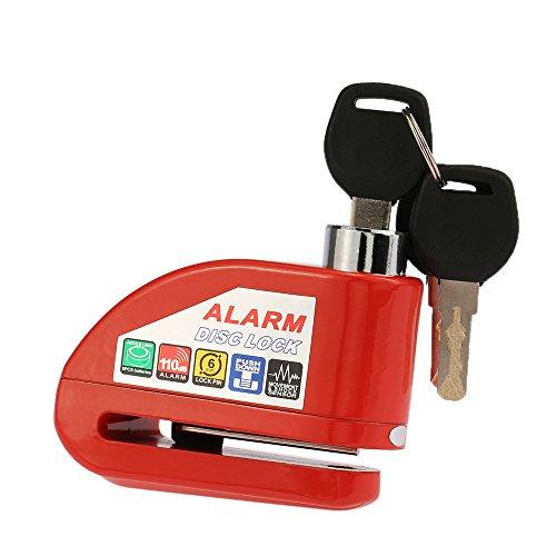 KKmoon Candado Disco Moto, 110 dB Antirrobo Candado de Disco Freno Cerradura con Alarma para Motos Motocicletas Bicicletas
