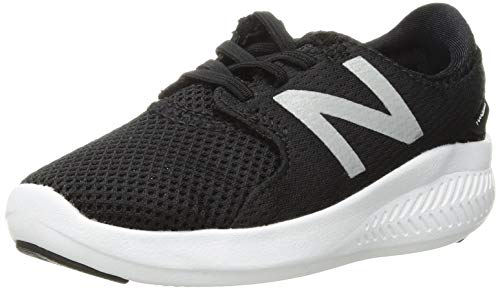 New Balance Boys' Coast V3 FuelCore Running Shoe, Black/White, 4 M US Toddler