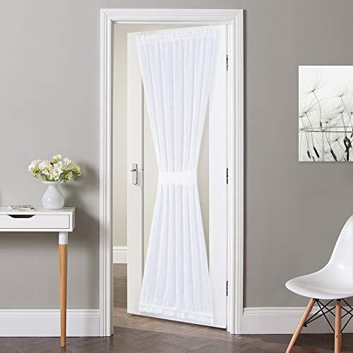 """NICETOWN Lined Look Door Panel - Semitransparent Voile Door Window Curtain Panel Semi Sheer for Patio / Sliding Glass Door with One Bonus Tieback, 52"""" Width by 72"""" Length, White"""
