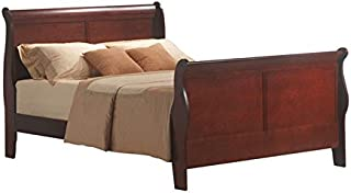 BOWERY HILL Traditional Style Queen Sleigh Bed in Cherry | KD Headboard, Footboard