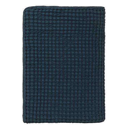 URBANARA 240x265 cm Tagesdecke/Plaid Veiros Petrol — 100% Reine Baumwolle — ideal als Bettüberwurf oder Kuscheldecke mit Strukturiertem Waffelmuster — geeignet für Einzel- und Doppelbett