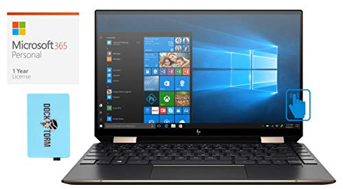 HP Spectre x360 13t Home and Business Laptop (Intel i7-1065G7 4-Core, 16GB RAM, 1TB PCIe SSD, Intel Iris Plus, 13.3' Touch 4K UHD (3840x2160), Win 10 Pro) with Microsoft 365 Personal, Hub