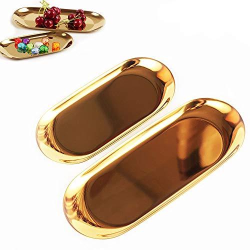 minzhenamz Bandeja dorada, bandeja para servir, bufé, joyero, decoración, toallero, platos, platos, té, fruteros, cosméticos, joyas, platos, platos, 2 tamaños ovalados dorados