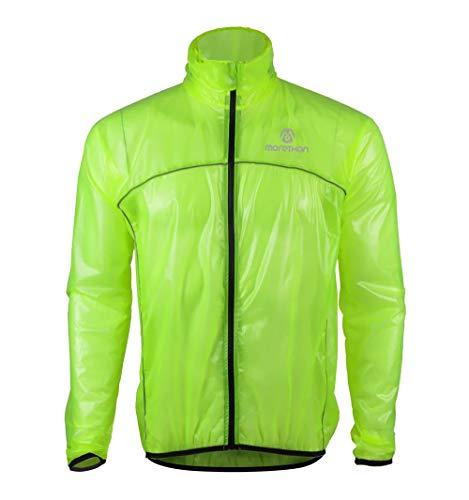 Morethan サイクル レインジャケット 軽量 防風 透湿 防水 バックポケット付き RVP-001、グリーン、S
