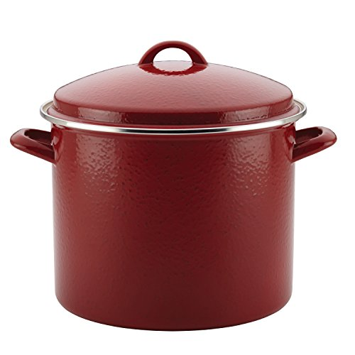 Paula Deen Enamel on Steel Stock Pot/Stockpot with Lid, 12 Quart, Red Speckle