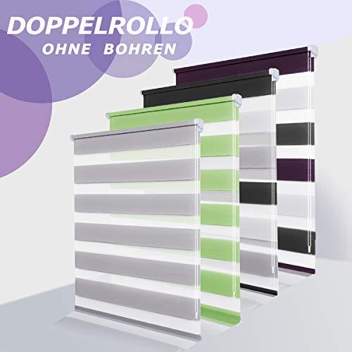 Allesin Doppelrollo Duo Rollo Klemmfix ohne Bohren, Rollo für Fenster und Tür, Seitenzugrollo Easyfix, lichtdurchlässig und verdunkelnd, sichtschutz und Sonnenschutz, 90 x 150 cm Weiss-Lila-Anthrazit