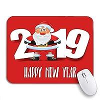 ECOMAOMI 可愛いマウスパッド レッドクリスマスサンタクロースハッピーニューイヤーグリーティングホリデーノンスリップラバーバッキングコンピュータマウスパッドノートブックマウスマット