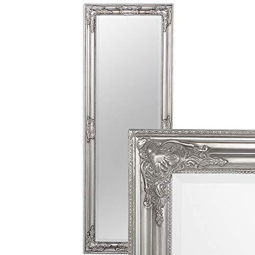 LEBENSwohnART Wandspiegel BESSA Silber antik 140x50cm barock Design Spiegel pompös Holzrahmen
