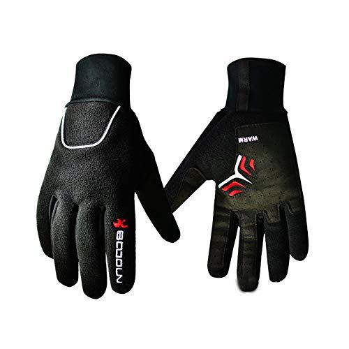 WXIFEID Fuera De Los Deportes De Esquí De Montaña Montar En Bicicleta Bicicleta De Montaña Guantes del Dedo Entero (Color : Black, Size : Polyester Microfiber)