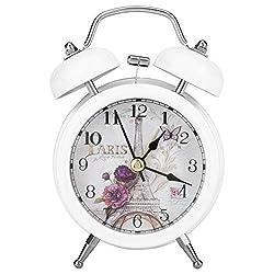Alarm Clock for Bedroom, Classic Retro Ultra-Quiet Metal Quartz Clock with Backlight for Desk Cupboard Bedside Travel(White)