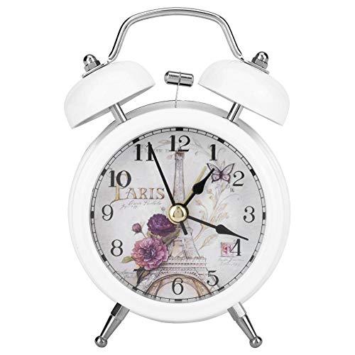 Garosa Reloj Despertador de Metal Ultra Silencioso, Reloj de Cuarzo de Estilo Retro Clásico para Escritorio, Cabecera de Viaje(White)