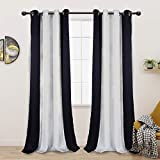 LORDTEX Color Block Blackout Curtains for Bedroom - Insulated Thermal Drapes, Sun Light Blocking & Noise Reducing Grommet Window Panels for Living Room, 2 Panels, 50 x 95 Inch, Black/Greyish White