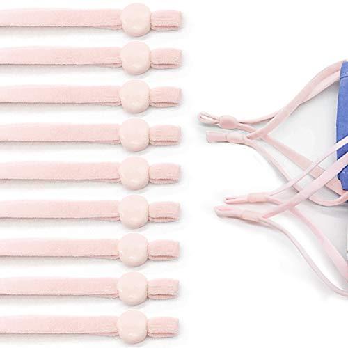 Paquete de 50 cuerdas elásticas elásticas elásticas de 5 mm, banda elástica de alta elasticidad, trabillas de oído elásticas suaves ajustables para coser ropa de manualidades (rosa)