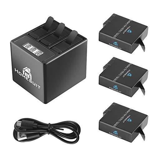 Homesuit Akku (3 Pack) und 3 Kanal LCD USB Ladegerät für GoPro Hero 7 Black, Hero 5, Hero 6 Black, Hero 2018 mit Typ-C USB Kabel