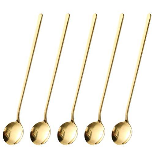 Hemoton - Set di 5 cucchiai da caffè in acciaio inossidabile, cucchiai da caffè con manico lungo, cucchiaino da tè per degustazione aperitivo (dorato)