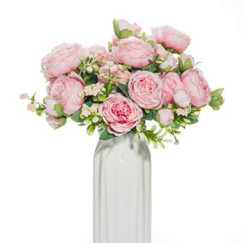 dyCrazy Künstliche Pfingstrosen, 4 Bündel, hellrosa, künstliche Rosen für Dekoration, künstliche Rosen, künstliche Blumenstrauß, echte Seide, Blumen, Kunstblumen für Vase, Hochzeit, Heimdekoration