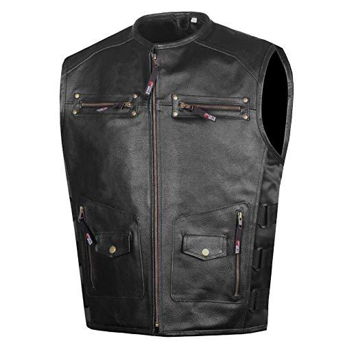 Men's Armor Motorcycle Biker Vest Conceal Carry Cowhide Leather L