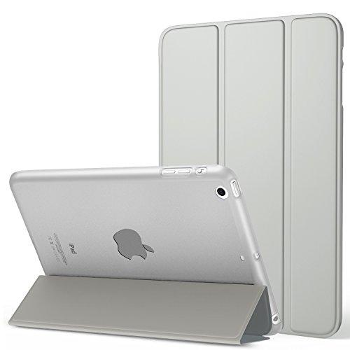 MoKo Funda para iPad Mini 3/2 / 1 - Lightweight Función de Soporte Protectora Plegable Smart Cover Trasera Transparente Durable (Auto Sueño/Estela) para Apple iPad Mini 3/2/1 Tableta, Plata