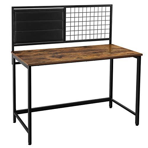 VASAGLE Computertisch, Schreibtisch, mit Gitter und Aufbewahrungsfächern aus Stoff, Stahlrahmen, 118 cm lang, Industrie-Design, vintagebraun-schwarz LWD068B01