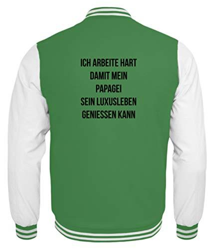 shirt-o-magic Papageien: Ich arbeite für Papageien - Kinder College Sweatjacke -3/4 (98/104)-Grün-Weiss