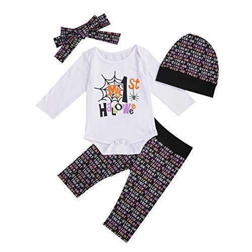 Divertido disfraz de calabaza/fantasma/araa Mi primer Halloween beb nia nio ropa con diadema sombreros conjuntos