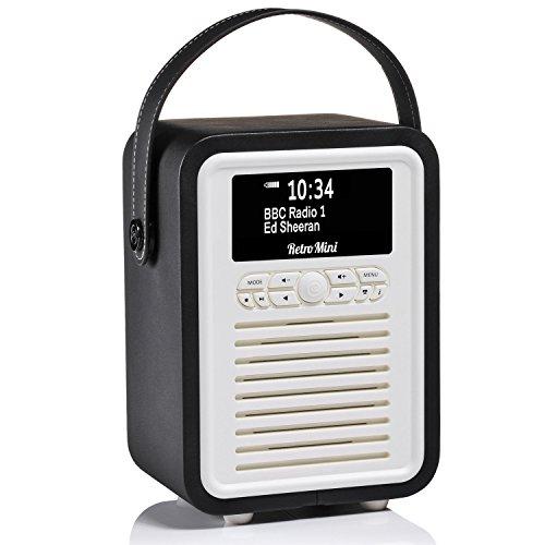 VQ | Retro Mini – Bluetooth Speaker and Digital Radio with FM & HD-FM, Dual Alarm Clock & Mains / Battery Powered - Black