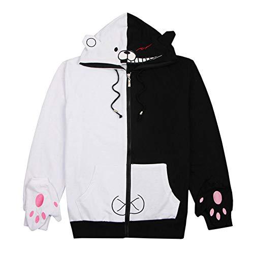 nobrand Danganronpa Monokuma Costume Cosplay Felpa con Cappuccio Unisex T-Shirt Giacca con Cappuccio Cappotto Casual Quotidiano Gioco Anime Periferico