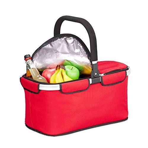 Relaxdays Einkaufskorb faltbar, mit Kühlfunktion, Thermokorb mit Henkel, 25 l, Deckel mit Reißverschluss, Kühlkorb, rot