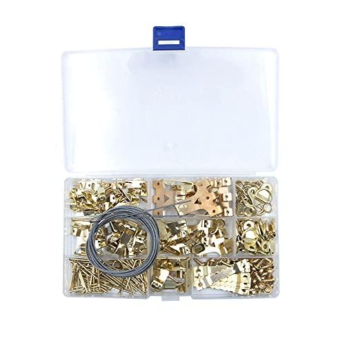 Tiardey - Kit de 250 ganchos para colgar cuadros,herramienta para colgar cuadros,kit de surtido de marcos de cuadros portátiles para marcos, relojes,espejos,obras de arte,color dorado