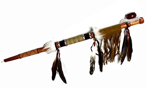 Hejoka-Shop NEU Indianer Pfeife 70 cm. Friedenspfeife aus Holz mit Kunstfell, Leder Latz, Perlen, Fasching Fotoshooting JR101