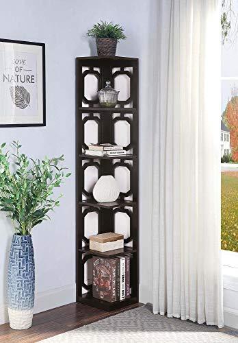 Convenience Concepts Omega 5 Tier Corner Bookcase, Espresso