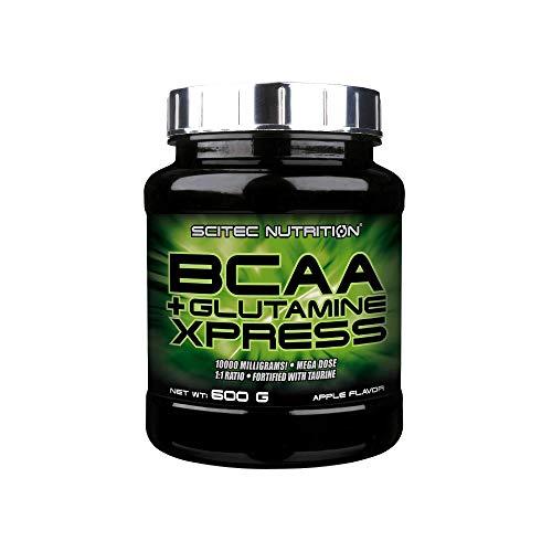 Scitec Nutrition BCAA + Glutamine Xpress, enriquecida con taurina, sin azúcar, 600 g, Manzana
