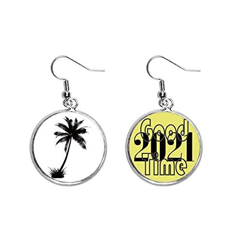 Pendientes de playa de árbol de coco negro con contorno de oreja colgantes joyería 2021 buena suerte
