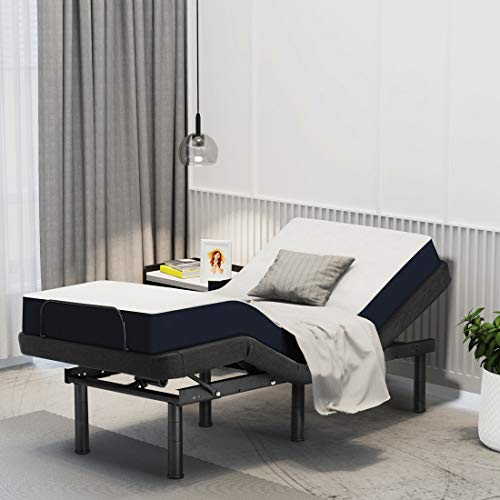 Smile Back Adjustable Bed Base Steel Frame Twin XL Electric Bed Platform Friendly Mattress Foundation, No Noise Bed, Height Adjustable, Head and Foot Incline, Wireless Remote, No Tools Required