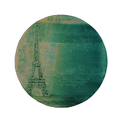 Rutschfreies Gummi-rundes Mauspad Eiffelturmdekor Eiffelturm Bunte Farbverlaufsskizze Ombre-Zeichnung Französischer dekorativer Liniendruck blaugrüner Senf 7.9