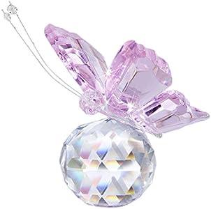 H&D - Hermosa mariposa al vuelo de cristal con base de bola de cristal, figurita para colección, adorno de animal coleccionable para regalo, madera, Rosa