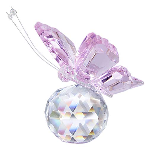 H & D - Beautiful flying glass butterfly with crystal ball base, figurine for collection, collectible animal gift for decoration, wood, pink