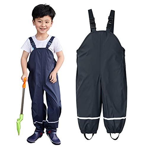 NBAA Unisex Kinder Regenlatzhose, Wind und wasserdichte Regen Latzhose Schlamm Einteilige Jumpsuit Kleidung Matschhose