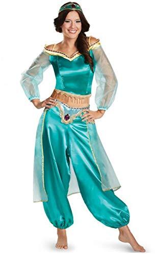 Aishangyide Erwachsener Damen Prinzessin Jasmin Aladdin Kostüm Set Crop Top+Lange Hose+Stirnband Satin Tüll Langarm Sexy Outfit für Halloween Cosplay Weinachten Karneval Party Verkleidung Fasching