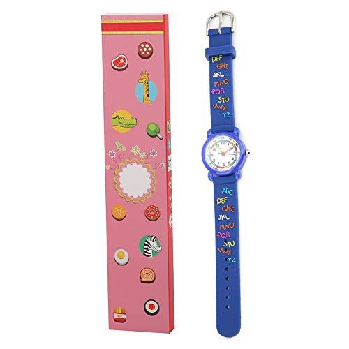 Lovely Kids Reloj de dibujos animados a prueba de agua, reloj de pulsera para niños Reconocimiento de tiempo Herramienta de juguete educativo Patrón de letra Unisex Tamaño ajustable(Azul)