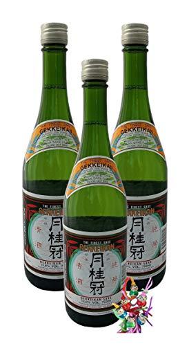 yoaxia ® - 3er Pack - [ 3x 750ml ] GEKKEIKAN Sake 14,6% vol/JUNMAI-SHU/Alkoholisches Reis Getränk + ein kleines Glückspüppchen - Holzpüppchen