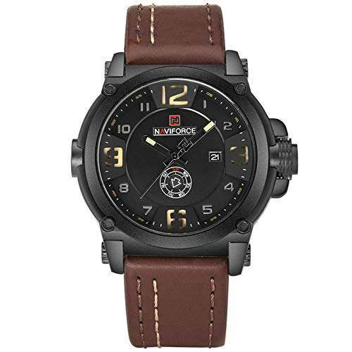 NAVIFORCE Men Sports Military Quartz Analog Date Leather Wristwatch