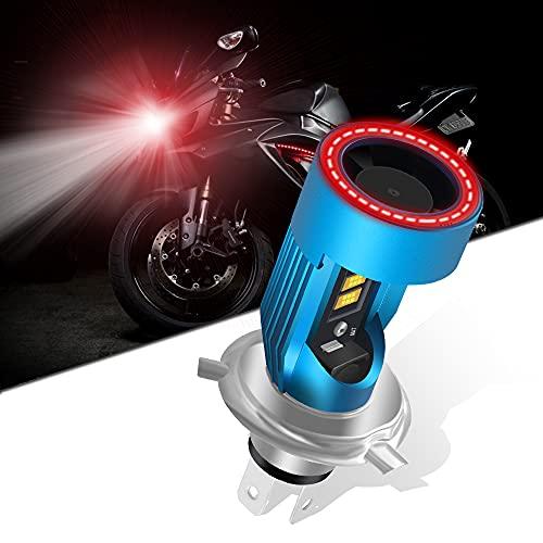 KaiDengZhe H4 HS1 Lampadina per Faro a LED per Moto con Rosso Angel Eye 9003 HS1 Faro a LED Alto/Basso 12V 2600LM Sostituzione della Lampada Alogena H4 Bianco 6000K