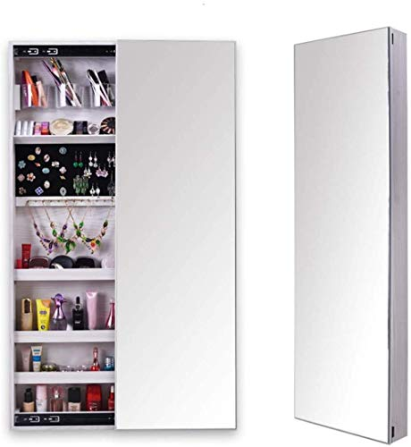 Wall Hanging Jewellery Cabinet Full Mirror Lockable Armoire Large Sliding Design Jewelry Storage Organizer Jewelry Cabinet 14.5 47.2 3.9inche White Right Push-Left Push_White Perfect